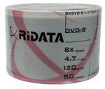 50 Pack Ritek White Inkjet DVD-R (printable hub)