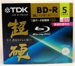 5 Pack TDK White Inkjet Printable 6X 50GB Blu-ray Disc (BD-R)