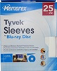 25 pack Memorex Tyvek Sleeves with Window for CD/DVD