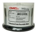 50 Pack CMC Pro powered by Taiyo Yuden Water Shield White Inkjet CD-R
