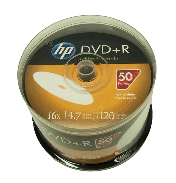 image about Inkjet Printable Dvd identified as 600 Pack 16X HP White Inkjet printable DVD+R (Printable Hub)