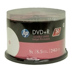 50 Pack HP 8x White Inkjet Hub Printable 8.5GB DVD+R DL