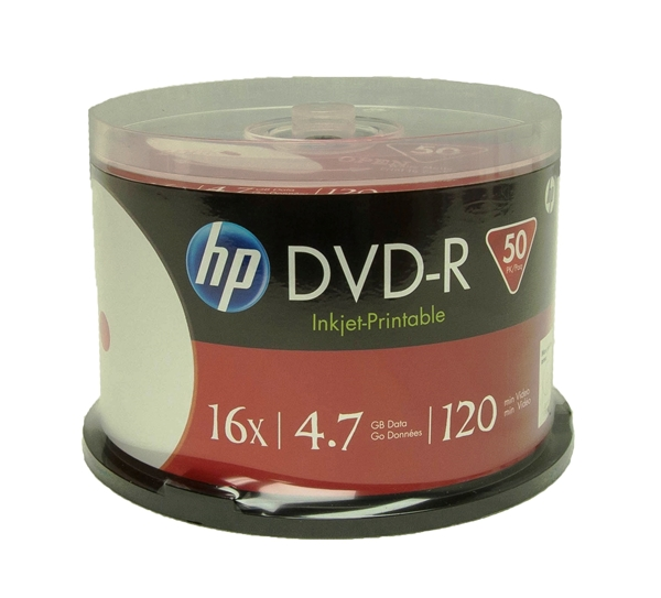 image about Ink Jet Printable Dvd named 200 Pack 16X HP White Inkjet printable DVD-R (Printable Hub)