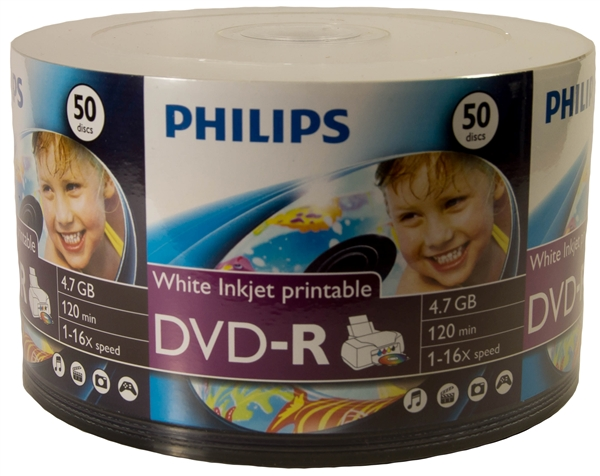 image relating to Ink Jet Printable Dvd named 600 Pack Philips White Inkjet DVD-R (printable hub)